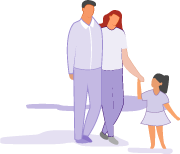 Illustration of a couple walking with their young daughter