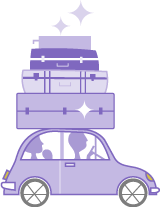 Illustration of a car with luggage loaded on top